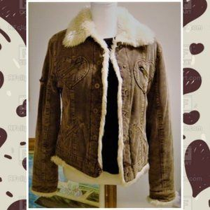 Jennifer Lopez Corduroy Faux Fur Jacket